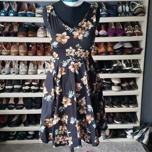 Eva Rose Vintage Style Hibiscus Print Dress